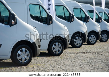 KAUNAS-SEP 19: Renault Master (third generation) on display on Sep. 19, 2014 in Kaunas, Lithuania. The Renault Master is an upper-medium size van produced by the French manufacturer Renault since 1980 - stock photo