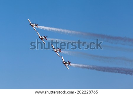 KAVALA, GREECE- JUNE 21, 2014: Aircraft of the Pioneer Team taking part in an exhibition for Kavala Airshow 2014, in Kavala, Greece.