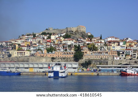KAVALA, GREECE - SEPTEMBER 18: Cityscape with Imaret, Fortress and ferry terminal in the harbor of the city in Eastmacedonia, on September 18, 2015 in Kavala, Greece