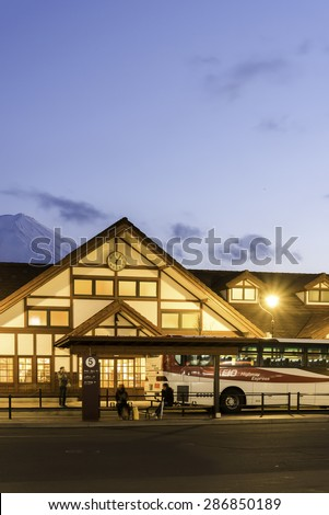 KAWAGUCHIKO,March 02:Kawaguchiko station with the veiw of fuji mountain on evening time, Japan, on March 02, 2015 - stock photo