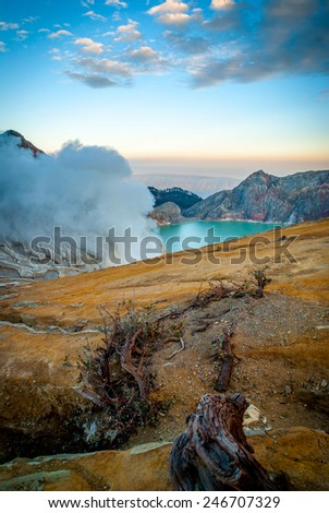 Kawah Ijen volcanic crater with lake at morning dawn, Java, Indonesia