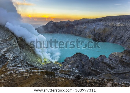 Kawah Ijen Volcano. The Ijen volcano complex is a group of stratovolcanoes in the Banyuwangi Regency of East Java, Indonesia. - stock photo