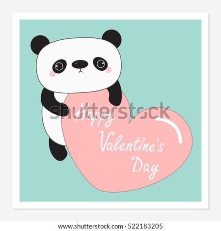 Kawaii panda baby bear. Happy Valentines Day. Instant photo frame. Cute cartoon character holding big pink heart. Blue background. Love card. Flat design