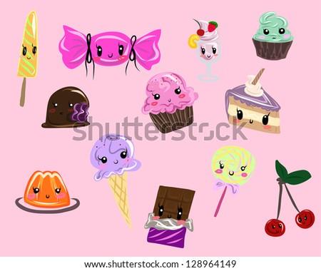 Kawaii sweets set - stock photo