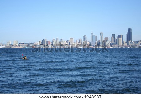 kayak and seattle skyline