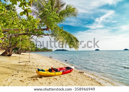 Kayak at the tropical beach at Phu Quoc island  in Vietnam - stock photo