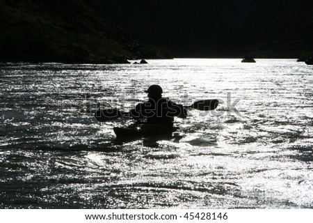 Kayak-er Silhouette - stock photo
