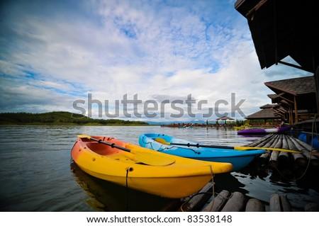 Kayak in the beautiful lake, Thailand - stock photo