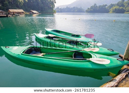 Kayak on Cheo Lan lake. Khao Sok National Park. Thailand. - stock photo