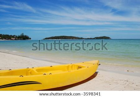 Kayak on Thai beach - stock photo