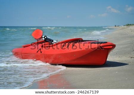 kayak on the beach - stock photo