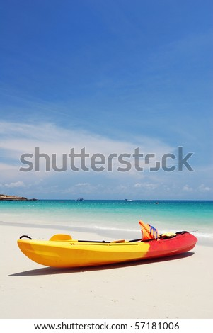 Kayak on the beach of Samet island , Thailand - stock photo