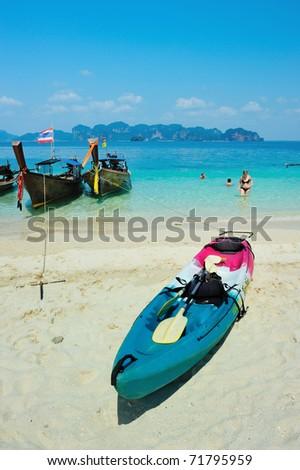 Kayak on the tropical beach, Koh Poda island, Thailand - stock photo