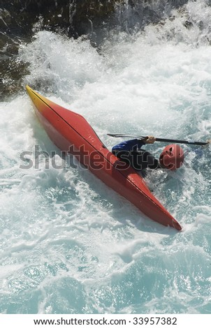 kayak on the waves of the sea
