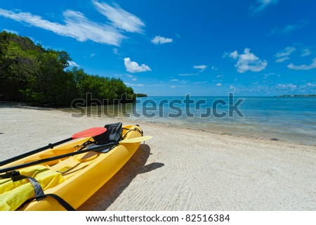 Kayak ready to be used in the beach in the Florida Keys - stock photo
