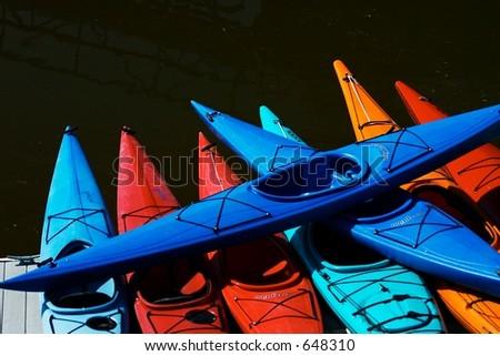 Kayak stack, Poulsbo, Washington - stock photo