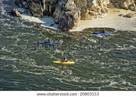 Kayaking at Great Falls National Park in Virginia near Washington DC on the Potomac River - stock photo
