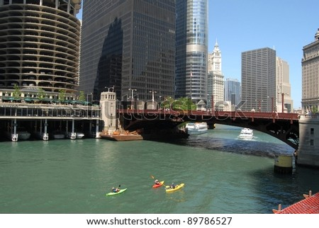 Kayaking in Downtown Chicago, Illinois USA - stock photo