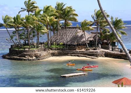 Kayaking in Fiji - stock photo