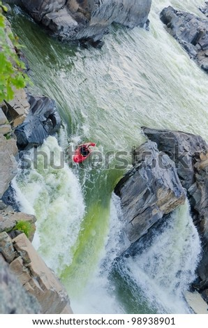 Kayaking in Great Falls National Park, Virgina United States - stock photo