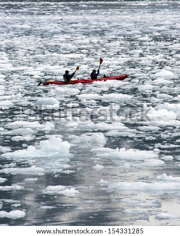 Kayaking in Ice Flow Fjords Near Seward Alaska - stock photo