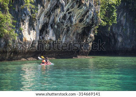 Kayaking in the sea, Krabi, Thailand - stock photo