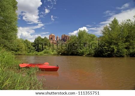Kayaking Oak Creek Sedona Arizona - stock photo