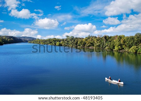 Kayaking on a sunny day in austin texas usa - stock photo