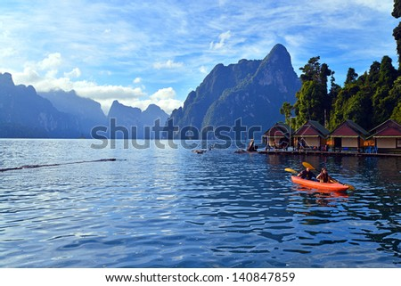 Kayaking on Cheo Lan lake. Khao Sok National Park. Thailand. - stock photo
