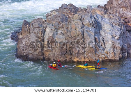 Kayaking on Potomac river in Great Falls National Park in Virginia, USA - stock photo