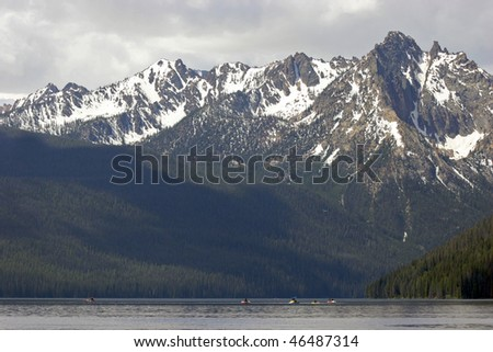 Kayaking on Redfish Lake, Idaho - stock photo