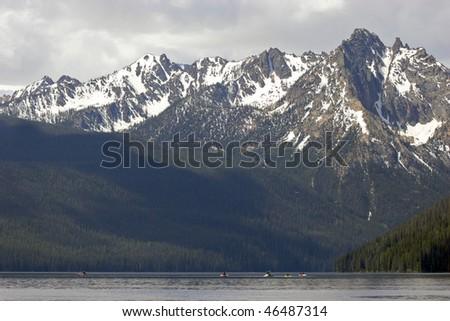 Kayaking on Redfish Lake, Idaho - stock photo