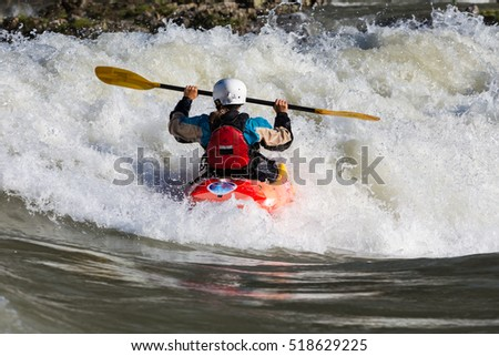 Kayaking. Rodeo white water Katun Altay