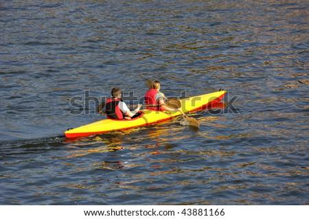 Kayaking together - stock photo
