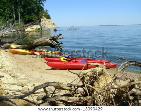 Kayaks beached on Fossil Island, Westmoreland State Park, Virginia.