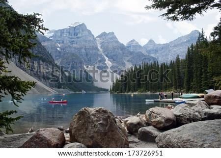 Kayaks on Moraine Lake , Banff National Park, Alberta, Canada - stock photo