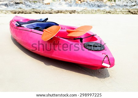 kayaks on the beach soft focus - stock photo