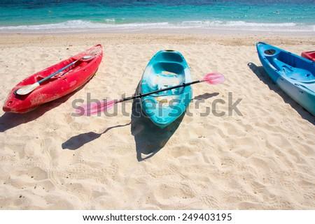 kayaks on the tropical beach - stock photo