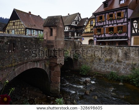 Kaysersberg small charming town in Alsace France - stock photo