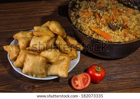 Kazakh baursaks Central Asian cuisine - stock photo