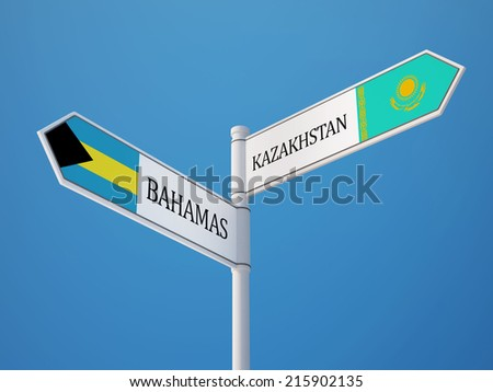 Kazakhstan Bahamas High Resolution Sign Flags Concept