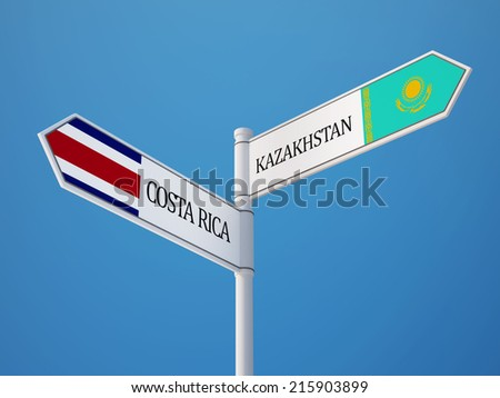 Kazakhstan Costa Rica High Resolution Sign Flags Concept