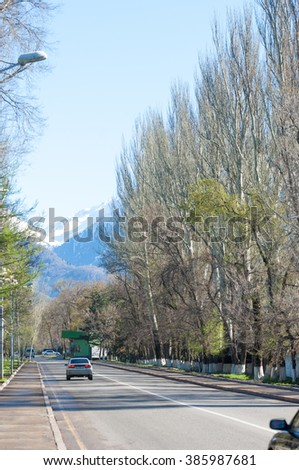 Kazakhstan, Dulati Street, Tien Shan Mountains, Early Spring. Trees without leaves. Bright sunny day - stock photo