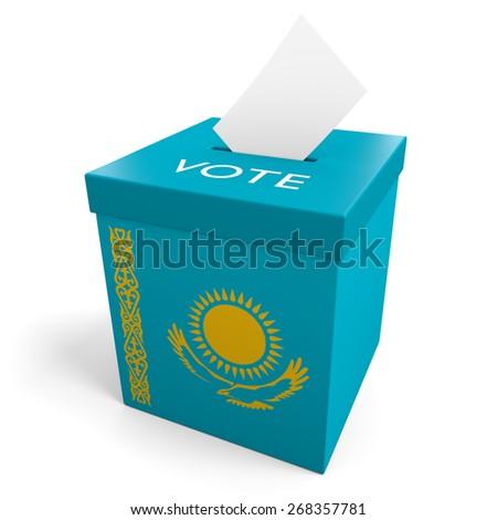 Kazakhstan election ballot box for collecting votes - stock photo