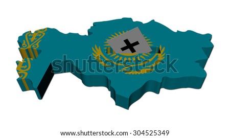 Kazakhstan election map with ballot paper illustration - stock photo