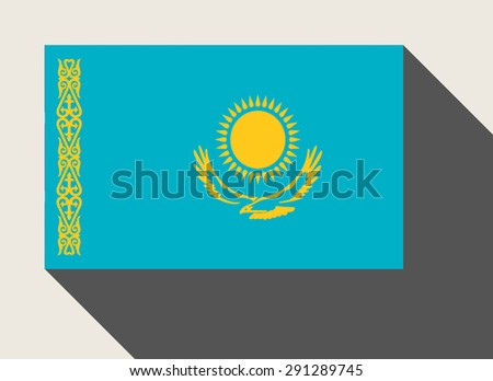 Kazakhstan flag in flat web design style. - stock photo