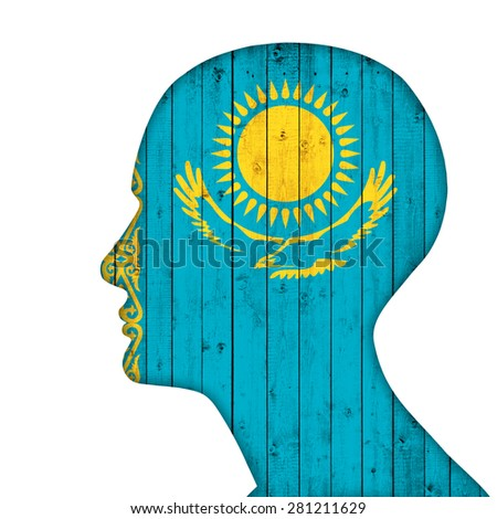 Kazakhstan flag of wood, human head and white background  - stock photo