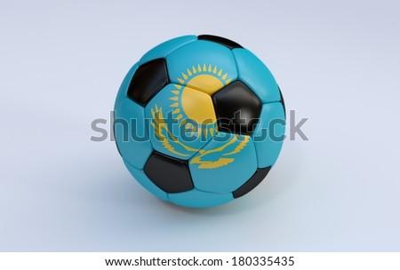 Kazakhstan flag on soccer, football ball on white background - stock photo