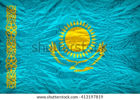 Kazakhstan flag pattern overlay on floyd of candy shell, vintage border style