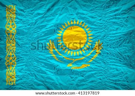 Kazakhstan flag pattern overlay on floyd of candy shell, vintage border style - stock photo